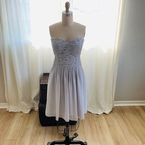 Strapless dove gray/silver cocktail dress